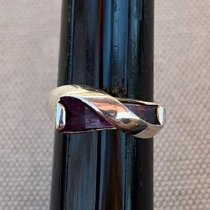 Vintage Silver and amethyst bypass ring